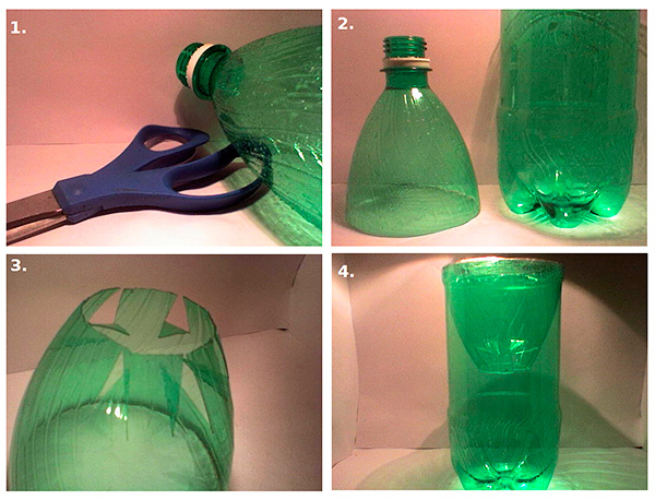 A mohil előállításának sémája műanyag palackból saját kezűleg.