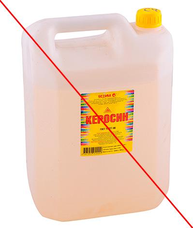 Det rekommenderas inte att använda fotogen, bensin och andra liknande vätskor mot mol på grund av deras stora brandrisk.