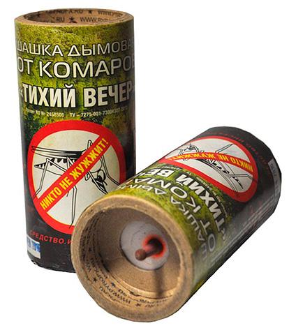 A képen egy rovarirtó füstbomba példája látható (Csendes este).