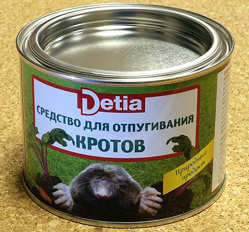 Det tyska läkemedlet mot mullvader Detia (bollar med lukten av lavendel).