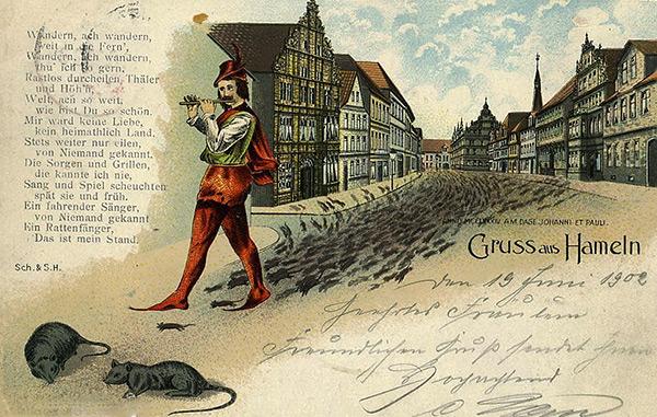 Hameln Pied Piper est un personnage d'une légende médiévale qui, avec l'aide de jouer le mec, a fait sortir tous les rats de la ville.