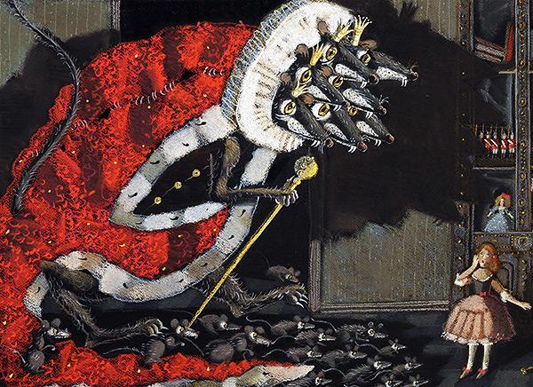 La photo montre la célèbre image de conte de fées du roi des rats à sept têtes d'après les travaux de E. T. A. Hoffmann, Casse-Noisette et le Roi des rats.