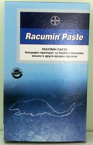 Racumin paszta rágcsálók elleni védekezésre.
