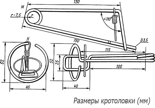 La photo montre les dimensions du piège à fil, qui, si vous le souhaitez, peuvent être réalisées indépendamment.